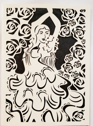 Die Cut Flamingo Dancer Surrounded by Roses White on Black Background 5x7 Blank inside ADA The Gilded Page Santa Fe New Mexico