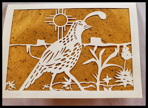 Die Cut Roadrunner with Zia Symbol and mesas on Brown  Background 5x7 Blank Inside ADA The Gilded Page Santa Fe New Mexico