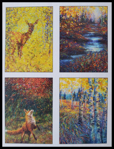 "Forest Boxed Cards Variety Artist: Maggie Rutherford   8 BLANK cards & envelopes  2 of each design  4.5"" x 6.5"" ADA The Gilded Page Santa FE"