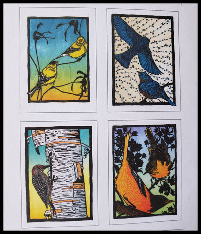 Birds by Artist: Nick Wroblewski Boxed Cards Woodcut Style 8 blank cards 2 each 4.5 x 6.5 inches Blues, yellows and greens, oranges ADA The Gilded Page Santa Fe