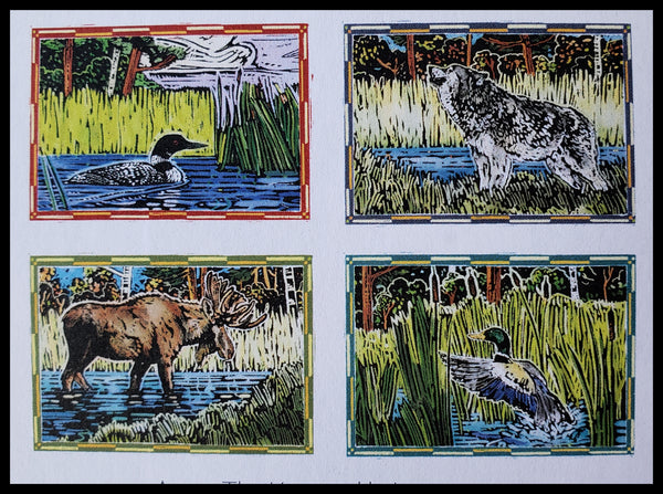 "2 Ducks, Wolf, Moose in Woodblock Style 8 BLANK cards & envelopes  2 of each design  4.5"" x 6.5"" ADA THE GILDED PAGE Santa Fe"