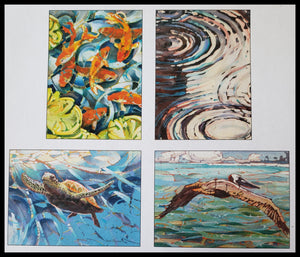 "Painterly Style Koi, Rain Puddle, Heron and Turtle Artist: Dan Wiemer   8 BLANK cards & envelopes  2 of each design  4.5"" x 6.5"" ADA The Gilded Page Santa Fe"