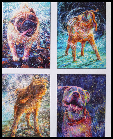 "Dog Boxed Cards Variety Artist: Iris Scott  8 BLANK cards & envelopes  2 of each design  4.5"" x 6.5""  ADA The Gilded Page Santa Fe"