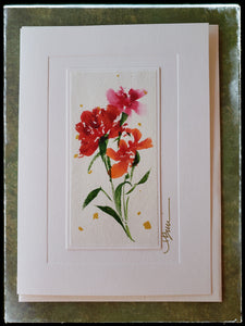 "January Carnation Flower Hand Painted Card The carnation dates back over 2000 years to Greek and Roman times and symbolizes the qualities of passion, enthusiasm, fascination and distinction.  Gold accents  Individually hand-painted on rice paper  Hand-painted images will vary  BLANK INSIDE  5.5"" x 7.5"" with envelope ADA The Gilded Page Santa Fe"