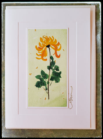 "November Chrysanthemum Flower Hand Painted Card One of the noble plants in Chinese culture. In Feng Shui, it brings laughter and happiness to the home. The Chrysanthemum symbolize optimism, abundance and perfection.  Gold accents  Individually hand-painted on rice paper  Hand-painted images will vary  BLANK INSIDE  5.5"" x 7.5"" with envelope ADA The Gilded Page Santa Fe"