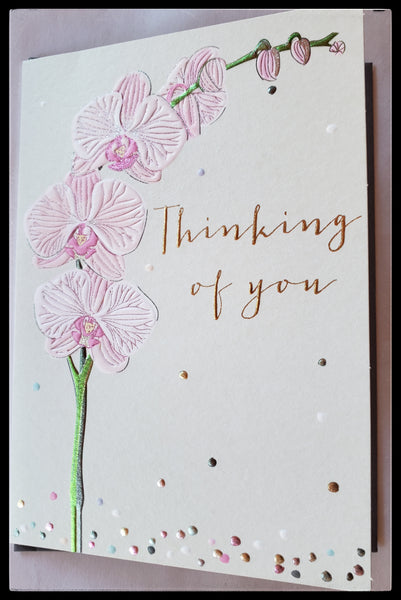 "Thinking of you card inside message reads  I just want you to know that you mean so much to me. Pink orchids on front 5"" x 7"" ADA the gilded page santa fe"
