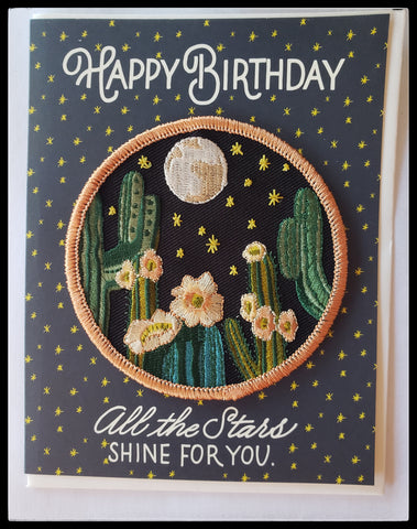 "Happy birthday all the stars shine for you .  cactus image iron on patch included BLANK INSIDE  4.5"" x 6"" with envelope ADA the gilded page Santa Fe"