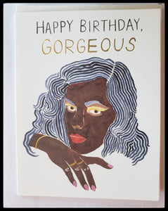 "Happy birthday gorgeous   African american woman with blue hair on front  BLANK INSIDE   Gold accents  4.5"" x 6"" with envelope ADA The Gilded Page Santa Fe"