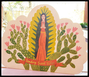 "Sending Good Vibes, Virgin Mary   BLANK INSIDE   Gold accents & bold colors   Die-cut   5.5"" x 7.5"" with envelope  ADA the gilded page Santa Fe"