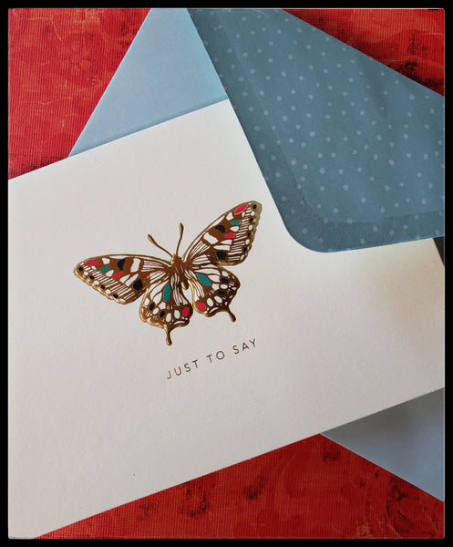 "Jewelled butterfly card set   10 Blank cards & matching envelopes  4.5"" x 6"" with envelope   Gold accents  Blue envelope with white polka dot accents  ADA The Gilded Page Santa Fe"