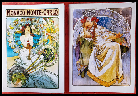 "Boxed Card Variety Set Alphonse Mucha  12 Cards & envelopes   BLANK INSIDE   2 each of 6 designs   5.5"" x 6"" with envelope  ADA The Gilded Page Santa Fe"