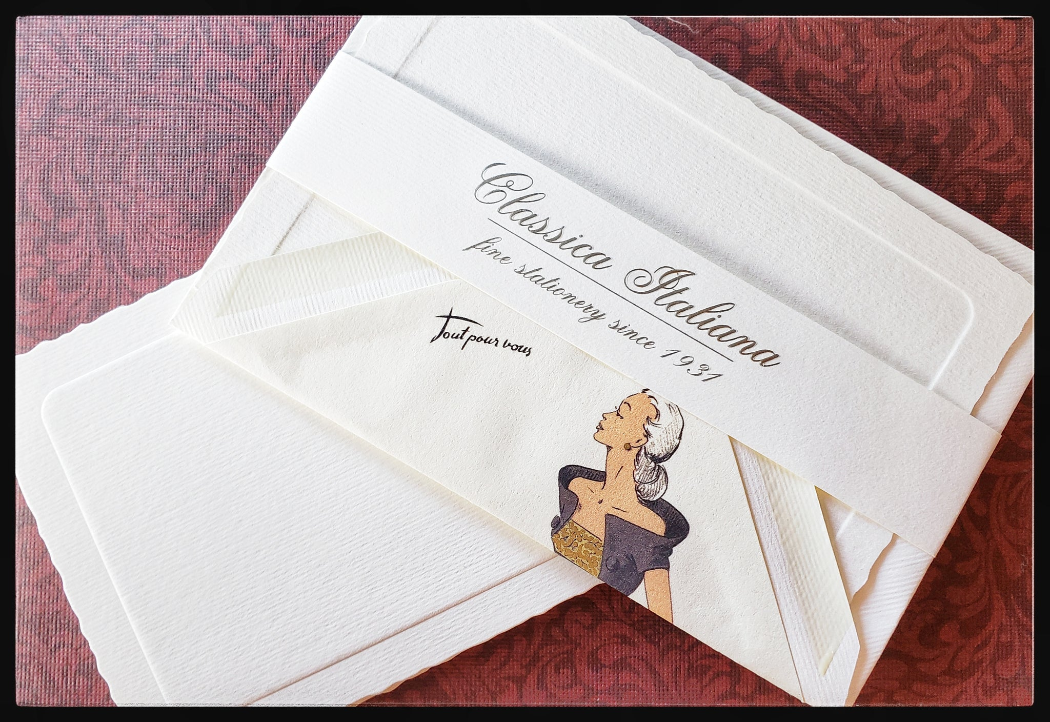 "Italian 10 Flat cards & 10 envelopes   Deckled edges   Pattern ""fashion woman""  inside of envelope   4"" x 6"" with envelope  ADA The Gilded Page Santa Fe"