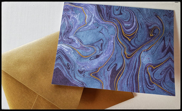 "Blue & gold marbled boxed cards 10 Cards & 10 envelopes  BLANK INSIDE  Printed on recycled paper  Gold foil accents   Gold envelope   4.5"" x 6"" with envelope ADA the gilded page santa fe"