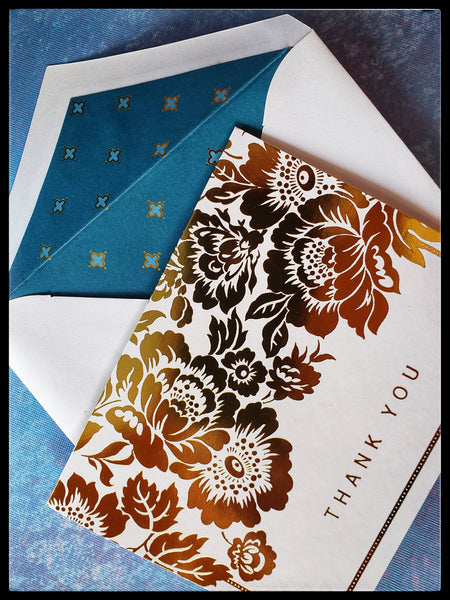 "Gold foil floral boxed thank you cards   12 cards and 12 lined envelopes  Thank you printed on front   Blank inside   4.5"" x 5.5"" with envelope  ADA The Gilded Page Santa Fe"
