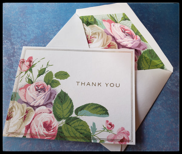 "Rose printed Gold foil thank you   12 cards & 12 envelopes   Thank you printed on front  Blank Inside   4"" x 6"" with envelope  ADA The gilded page santa fe"