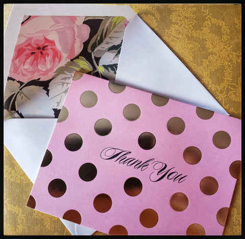 "Pink & gold polka dot thank you   12 cards & 12 envelopes   Thank you printed on front  Blank inside  Roses printed inside envelope   4"" x 6"" with envelope  ADA The Gilded Page Santa Fe"