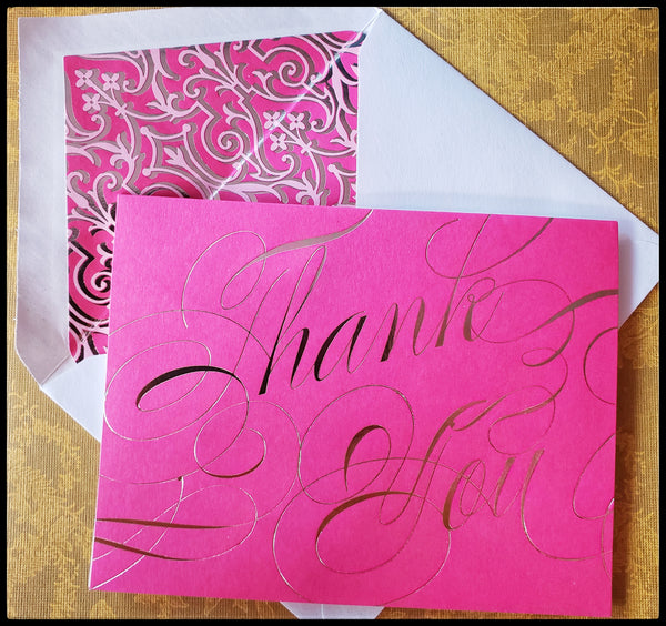 "Pink card with gold foil thank you   12 cards & 12 envelopes   Thank you on front  Blank inside   4.5"" x 6"" with envelope ADA the gilded page santa fe"