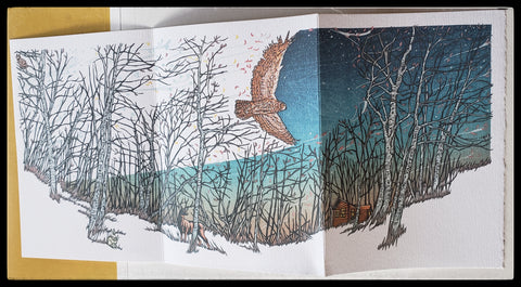 Tri Folding free standing greeting card owl in a forest with a elk and a cabin ADA The Gilded Page Santa Fe