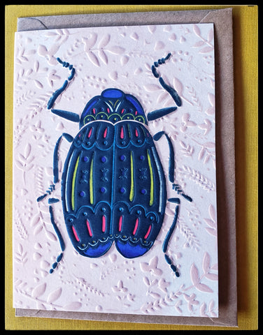 "Blue beetle with red and yellow accents embossed cards peach colored embossed background Kraft envelope   BLANK INSIDE   4.5"" x 6.5"" with envelope ADA The Gilded Page Santa Fe"