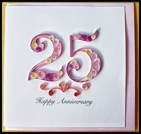 "25th anniversary quilling card  Don't just send a card, send art! Quilling is the art of rolling, coiling and shaping small strips of paper to create a cohesive three-dimensional design and has been practiced for centuries.    Card with envelope 6.5"" x 6.5""  Fair Trade (Fair Trade Federation). Ensuring that working environments and employee relations are held to the highest standards.   Your purchase aids in providing these job opportunities and supporting our continued efforts!    These exquisite cards are"