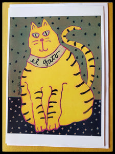 "El Gato Abstract Cat Cards Original painting by: Gabrielle Denton    BLANK INSIDE   5"" x 7"" with envelope  ADA The Gilded Page Santa Fe"