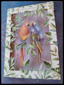 "Parrot Birthday Die-cut Card Die-cut   BLANK INSIDE   Kraft envelope   5"" x 7"" with envelope ADA The Gilded Page Santa Fe New Mexico"