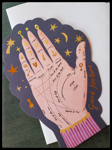 "Good fortune palm reading card BLANK INSIDE   Good accents   Die-cut   5.5"" x 7.5"" with envelope ADA The Gilded Page Santa Fe New Mexico"