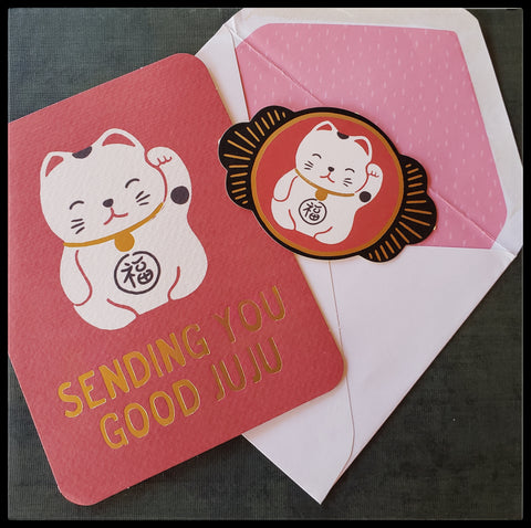 "Sending you good JUJU Chinese cat greeting card BLANK INSIDE   Matching envelope  Decorative sticker seal   Good accents   4.5"" x 6"" with envelope ADA The Gilded Page Santa Fe New Mexico"