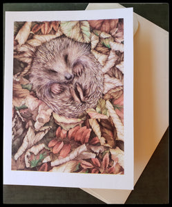 "Hedgehog in the leaves   Environmentally friendly paper for card and envelope  BLANK INSIDE  5.5"" x 7.5"" with envelope  ADA The Gilded Page Santa Fe New Mexico"