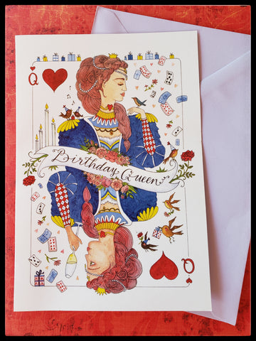 "Queen of hearts image that says birthday queen on front  BLANK INSIDE 5.5"" x 7.5"" with envelope   Light purple colored envelope ADA The Gilded Page Santa Fe New Mexico"