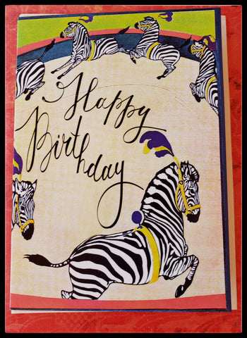"6 zebras riding in a circus circle Happy Birthday   BLANK INSIDE   Made in England   5"" x 7"" with envelope ADA The Gilded Page Santa Fe New Mexico"