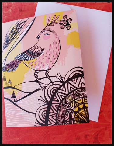 "Pink and orange background with and abstract bird BLANK INSIDE   Silkscreen   4.5"" x 6"" with envelope ADA The Gilded Page Santa Fe New Mexico"