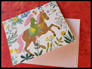"ADA The Gilded Page Santa Fe New Mexico BLANK INSIDE   Girl & her horse   Off white envelope   4.5"" x 6"" with envelope"