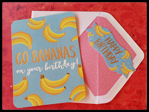 "ADA The Gilded Page Santa Fe New Mexico Online Go Bananas On Your Birthday   BLANK INSIDE  Matching envelope   Decorative sticker seal   Gold accents   4.5"" x 6"" with envelope"