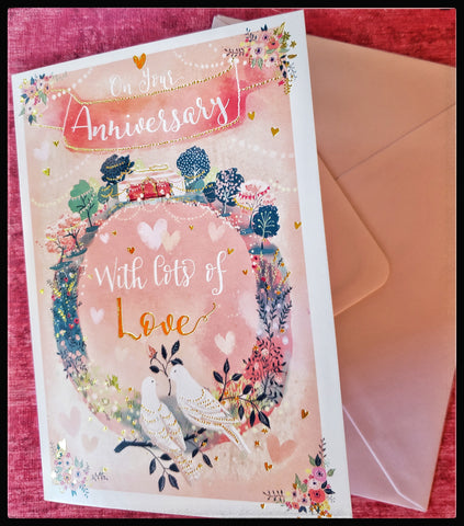 "Love birds anniversary greeting card Front Message: "" On your Anniversary with lots of love.""  Inside Message: ""Congratulations and warmest wishes for many more years of happiness""   Gold metallic accents   5"" x 7"" with envelope ADA The Gilded Page Santa Fe New Mexico"