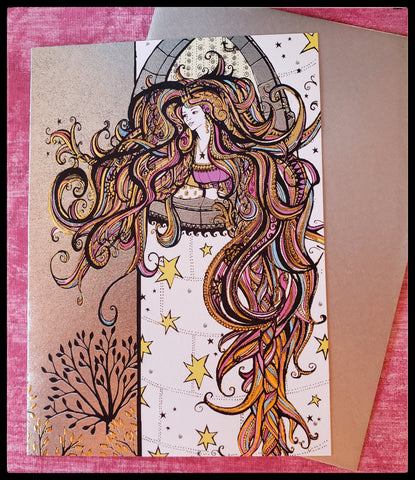 "Rapunzel  BLANK INSIDE   Metallic accents   Beautiful bright bold colors   5"" x 7"" with envelope ADA The Gilded Page Santa Fe New Mexico"