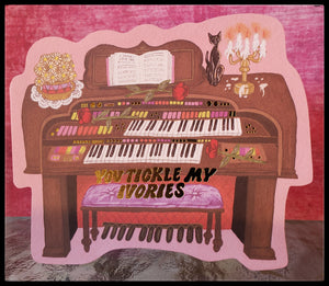 "You tickle my ivories   BLANK INSIDE   Free standing die cut   5.5"" x 7.5"" with envelope   Gold accents ADA The Gilded Page Santa Fe New Mexico"