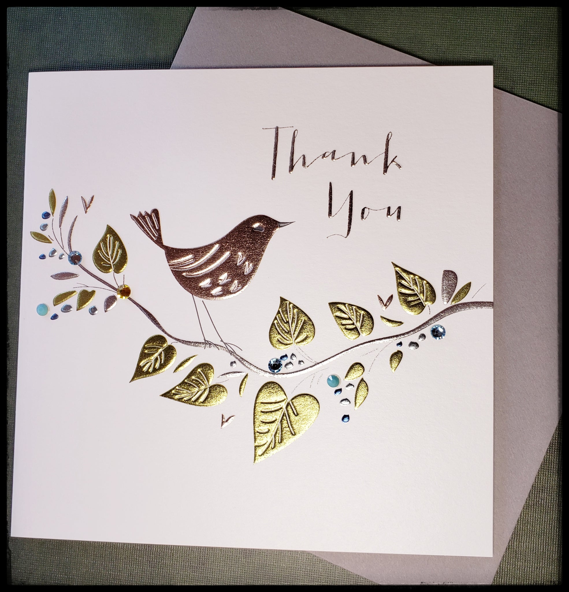 "Bird on tree branch front message on front thank you BLANK INSIDE   Embossed   Metallic accents   Rhinestone accents   Silver envelope   6.5"" x 6.5"" with envelope ADA The Gilded Page Santa Fe New Mexico"