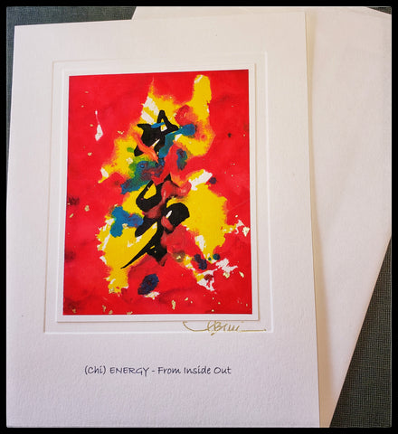 "(Chi) Energy- From inside out   Hand painted on rice paper with watercolors   BLANK INSIDE   5.5"" x 7.5"" with envelope  ADA The Gilded Page Santa Fe New Mexico"
