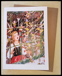 "Girl looking out the window., Outside its raining, fairies are trying to come inside the window Message Inside: ""Even when we are stuck indoors the world's wonders are still around us. Get well soon.""  Printed on recycled paper   5.5"" x 7.5"" with envelope ADA The Gilded Page Santa Fe New Mexico"