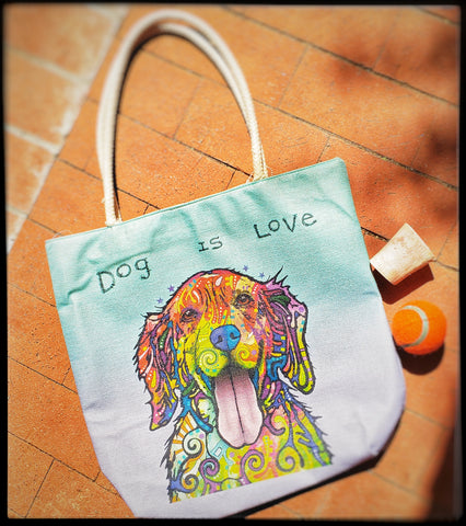 "Abstract dog Durable market bag  Image is printed on both sides   Burlap materiel with faux suede inside   Durable rope straps   Width 17""  Height 16.5""  Bottom width open 5""  Straps 10.5""   ADA The Gilded Page Santa Fe New Mexico"