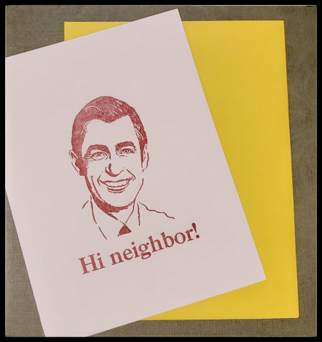 "Hi neighbor   Letterpress  BLANK INSIDE   Yellow envelope   4.5"" x 6"" with envelope ADA The Gilded Page Santa Fe New Mexico"
