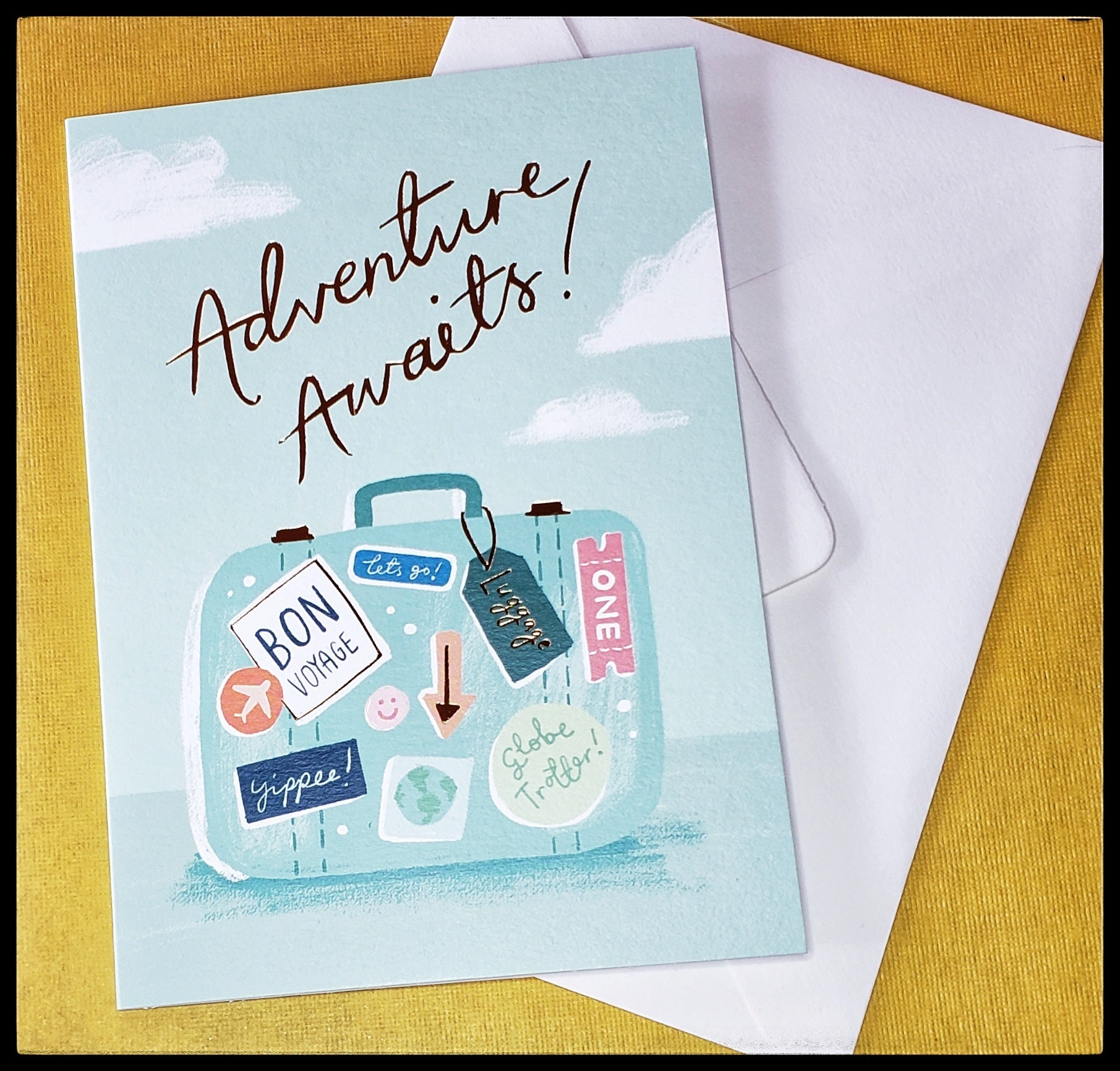 "Adventures awaits! BLANK INSIDE   Good accents   Recycled paper   4.5"" x 6.5"" with envelope ADA The Gilded Page New Mexico"
