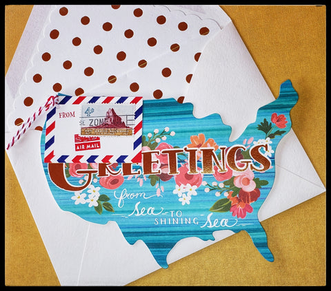 "Greetings from sea to shining sea   BLANK INSIDE   Die-cut   Gold accents   Gold polka dot envelope   5.5"" x 7"" with envelope ADA The Gilded Page Santa Fe New Mexico"