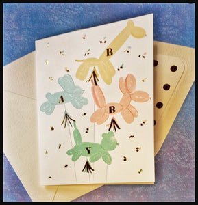 "Baby   Gold accents   Gold polka dot accent envelope   4.5"" x 6"" with envelope ADA The Gilded Page Santa Fe New Mexico"