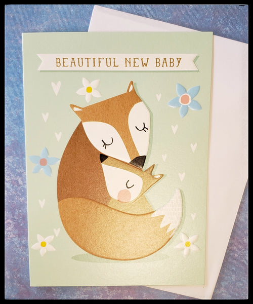 "Beautiful New Baby   BLANK INSIDE   Embossed   Gold accents   5"" x 7"" with envelope  ADA The Gilded Page Santa Fe New Mexico online"