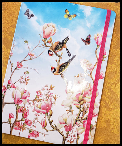 "Birds and flowers Lined   Elastic holder   Hardcover   Decorative first & last page   6"" x 8.5""  ADA The Gilded Page Santa Fe"