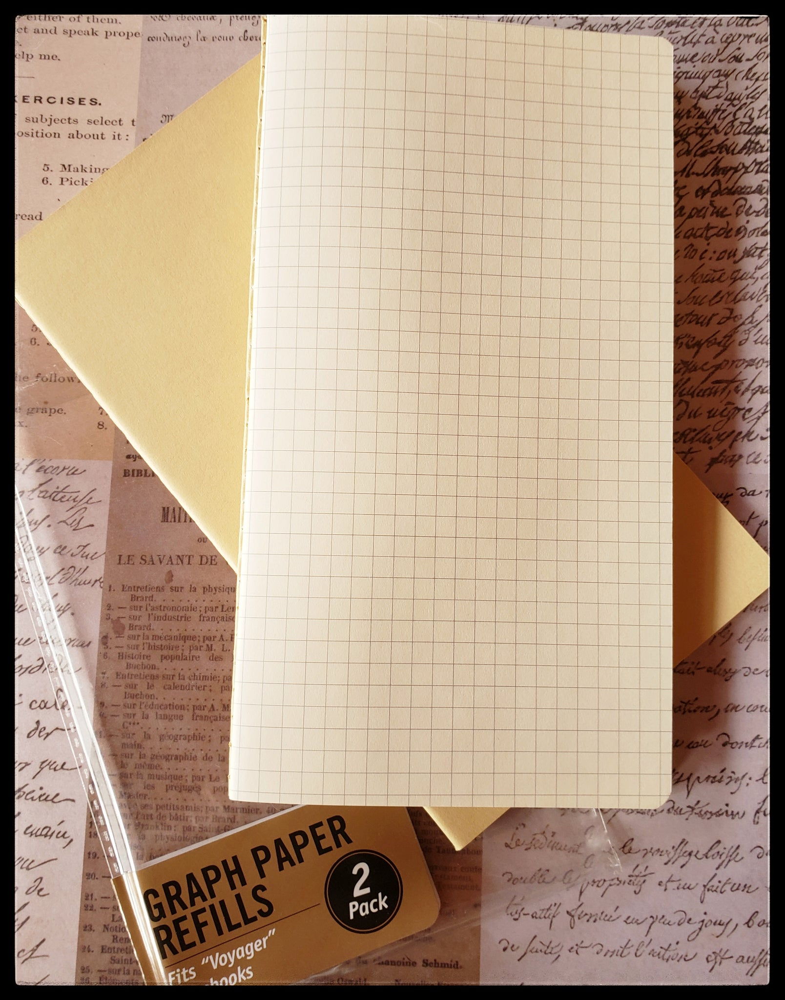 "Graph Paper   2 pack  Fits ""voyager"" notebooks   4"" x 7.5""  ADA The Gilded Page Santa Fe New Mexico"