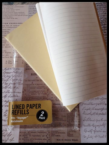 "Lined paper   2 pack  Fits ""voyager"" notebooks   4"" x 7.5""  ADA The Gilded Page Santa Fe New Mexico"