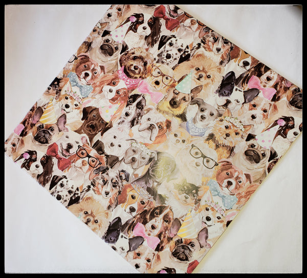 "Dog  2 Sheets in a pack   20"" x 30"" (51cm x 76cm)   Arrives folded in package 10"" x 10""   Gift wrap contains 100% recycled fiber ADA The Gilded Page Santa Fe New Mexico"